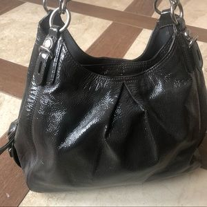 Grey patent leather coach shoulder bag